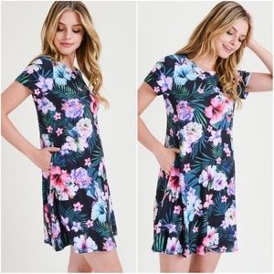 🌺 Tropical Floral Fit and Flare Dress